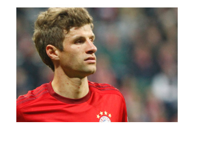 Thomas Muller of Bayern Munich is focused ahead of the upcoming match.