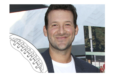 The photo of veteran football player Tony Romo wearing a suit and smiling.  Year is 2016.