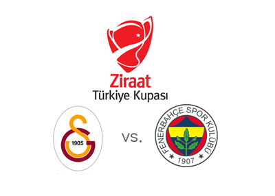Turkish Kupasi (Turkish Cup) 2016 final - Galatasaray vs. Fenerbahce - Tournament logo - Ziraat and team crests - Matchup and odds