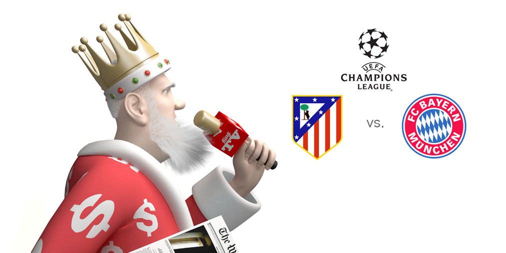 The King is on the microphone presenting Atletico Madrid vs. Bayern Munich - The UEFA Champions League match