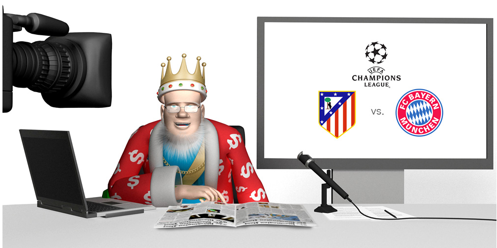 The King is doing a report from his studio about the upcoming UEFA Champions League match between Atletico Madrid and Bayern Munich taking place at Estadio Vicente Calderon in Madrid