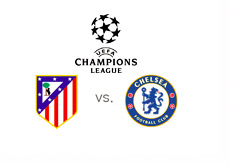 The UEFA Champions League Matchup - Atletico vs. Chelsea - Tournament Logo and Team Crests