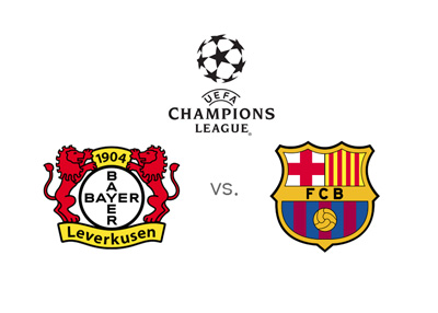 Bayer Leverkusen vs. Barcelona FC - UEFA Champions League matchup - Preview and odds - Tournament logo and team badges