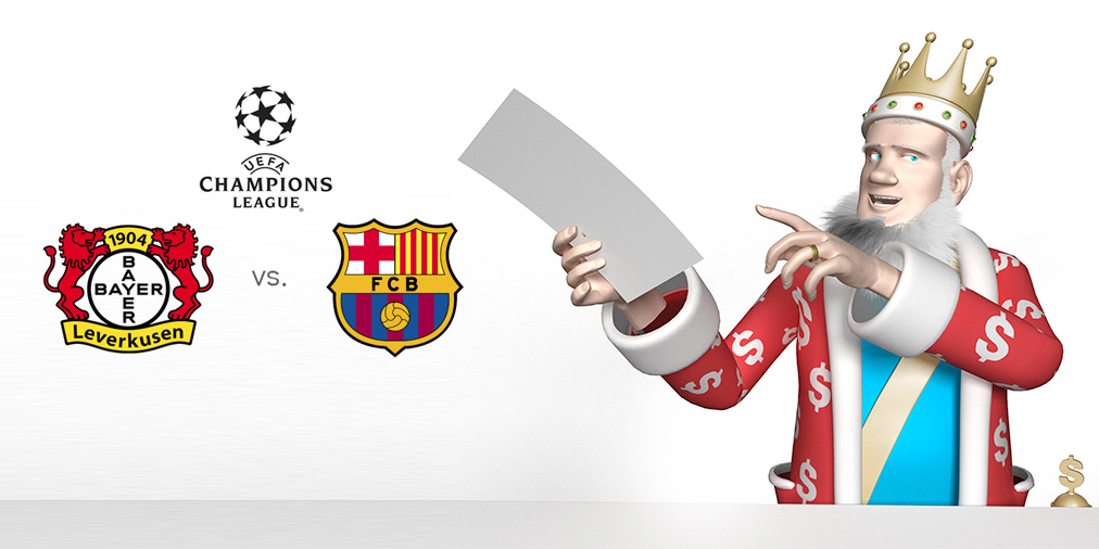 The King presents the upcoming UEFA Champions League matchup between Bayer Leverkusen and the reigning champions Barcelona FC