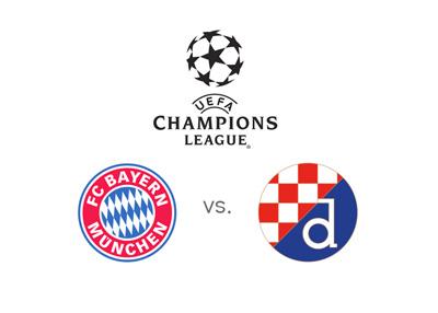 Bayern Munich vs. Dinamo Zagreb - UEFA Champions League matchup - Odds, preview and team logos
