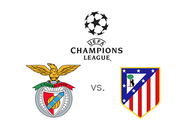 UEFA Champions League match - Benfica vs. Atletico Madrid - Tournament logo and team badges