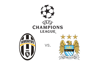 Juventus vs. Manchester City - UEFA Champions League matchup - Badges and logo - Year 2015