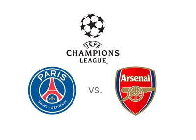 The UEFA Champions League matchup - Paris Saint Germain vs. Arsenal FC - Team and tournament logos