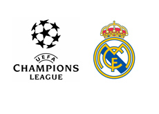 The UEFA Champions League Logo next to Real Madrid crest