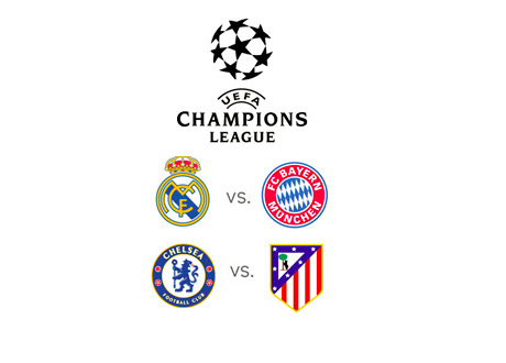 The UEFA Champions League Semi Final Matchups - Real vs. Bayern - Chelsea vs. Atletico - Team Badges and Tournament Logo
