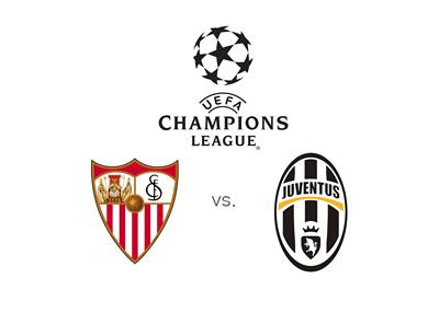 Sevilla vs. Juventus - UEFA Champions League logo and team badges / crests