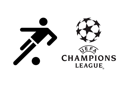 UCL Top Goalscorer - Illustration - UEFA Champions League logo and footballer icon - Black and white