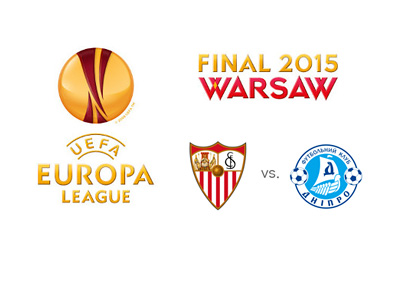 UEFA Europa League 2015 Final - Warsaw - Sevilla vs. Dnipro - Tournament and team logos