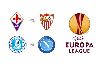 UEFA Europa League 2014/15 Semi-finals - second leg - Dnipro vs. Napoli and Fiorentina vs. Sevilla - Logos, Matchups and Odds