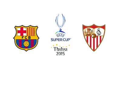 UEFA Supercup 2015 - Tbilisi - Barcelona FC vs. Sevilla FC - Matchup, odds and team logos