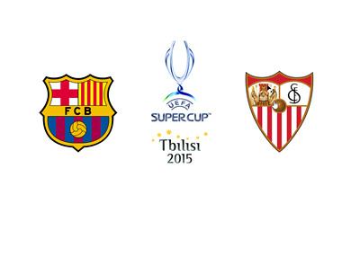UEFA Supercup 2015 - Tbilisi - Barcelona FC vs. Sevilla FC - Matchup, odds and team logos
