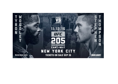 UFC 205 fight specific poster.  Woodley vs. Thompson - November 12th, 2016 - New York City