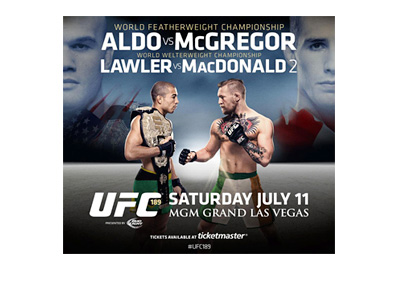 Ultimate Fighting Championship - UFC 189 - Event Poster - Featherweight - Jos� Aldo vs. Conor McGregor - Welterweight - Robbie Lawler vs. Rory MacDonald
