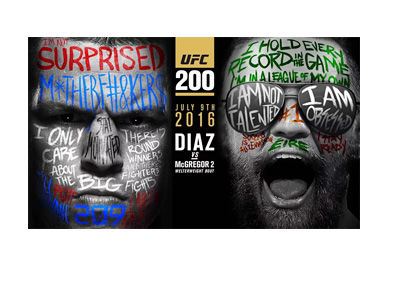 The UFC 200 poster featuring Nate Diaz and Conor McGregor with their faces painted