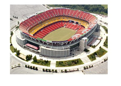 The FedEx Field - Home of the Washington Redskins - Areal view photo.  Empty stands and parking lot.