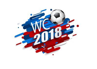 The WC 2108 text over blue, red and white design background - Football.