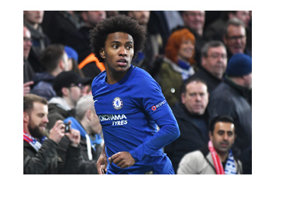 Chelsea FC midfielder / right winger, Willian, in action for the Blues.  The year is 2017.