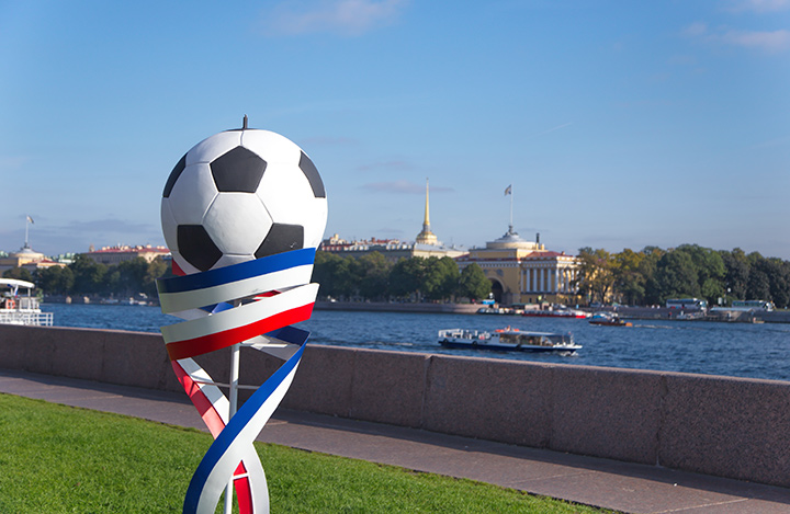 World Cup 2018 Statue in St. Petersburg, Russia.