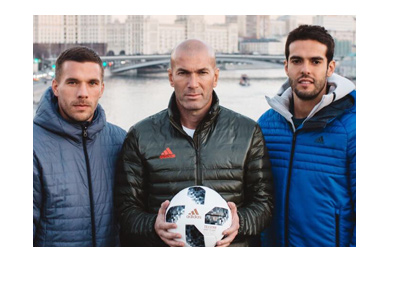 Lukas Podolski, Zinadine Zidane and Kaka present the 2018 FIFA World Cup ball called Telstar18.