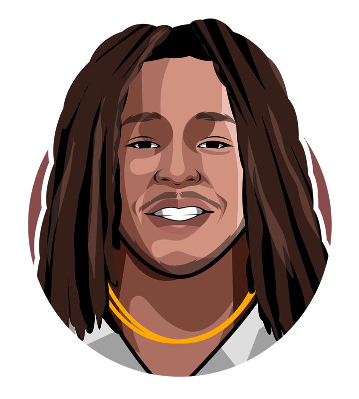 Profile drawing of Alvin Kamara, the football player.  Illustration.  Art.