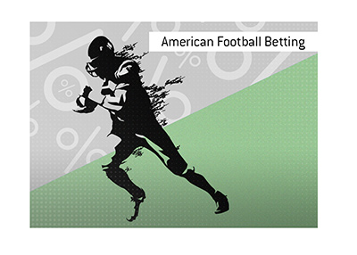 The silhouette style drawing of a football player in action.