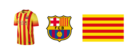 Barcelona FC Senyera kit, team logo and the Catalan flag
