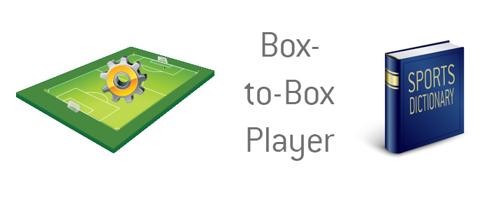 The illustration and dictionary entry for a box-to-box player in the game of football.
