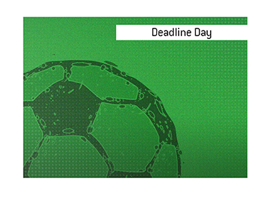 The meaning of the term Deadline Day is explained and the sport of soccer is referenced as an example.  Illustration.