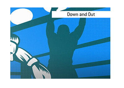 The boxer is on the ground - Down and out! - Illustration.