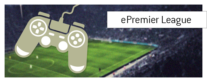 ePL - What is the meaning of the term ePremier League? Illustration of a video game console controller over a blurred stadium - birds eye view.