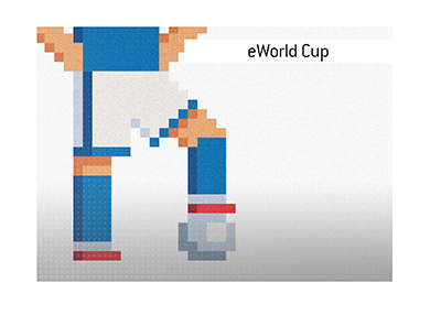 The King explains the meaning of the term eWorld Cup when it comes to the sport of soccer and the world of video games.  Illustration.