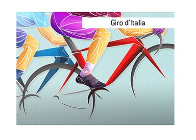 One of the most famous bicycle races in the world takes place in Italy.  Giro dItalia.  Illustration.