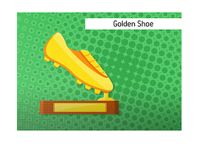 Illustration of the European Golden Shoe trophy.  Who is this award given to each year?