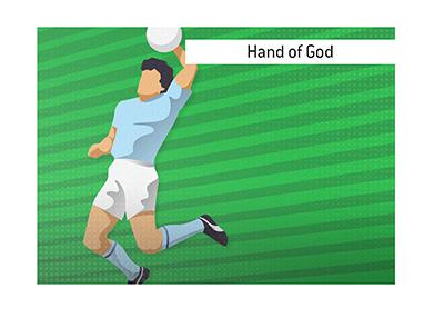 Diego Maradona - Hand of God - Illustration.