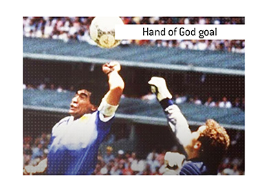 The meaning of the term Hand of God Goal when it comes to sports and more specifically World Cup soccer.