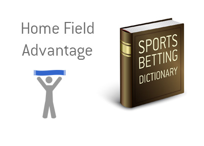 The definition of the term Home Field Advantage when it comes to sports and betting.  What is the meaning?  Illustration of a home team fan.