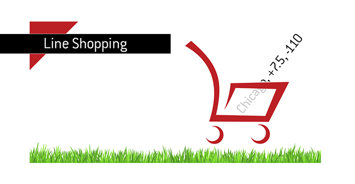 The illustration of line shopping - Humorous - Cart with a betting line inside it.