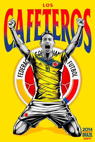 Colombia football national team - Los Cafeteros - James Rodriguez - ESPN Poster