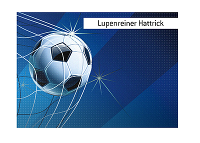 The meaning of the soccer / football term Lupenreiner Hattrick is explained.  Illustration.