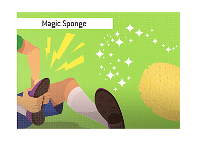 The meaning of the term magic sponge in the game of football.  What is it.  What is the humor behind it? - Illustration.
