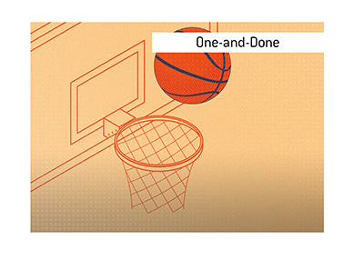 The pop art style illustration of a basketball net.  One-and-Done.