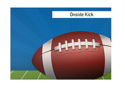 The term Onside Kick meaning is explained and illustrated.  What is it and what is the example of it?