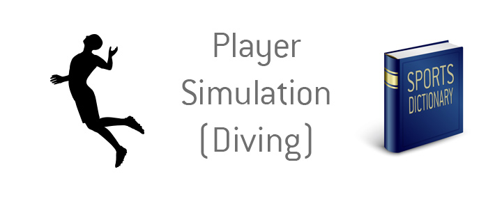 The illustration of a football player pretending to be fouled.  The meaning of player simulation - diving - in soccer explained.  Sports dictionary.