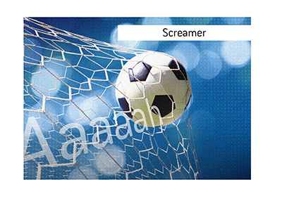 The illustration of a screamer goal in the sport of football / soccer.  The ball is hitting the net at a great speed.