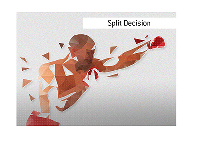 The King explains the meaning of the term Split Decision in the sports such as boxing and mixed martial arts.  What are the examples?
